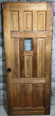 Antique 9 Panel Exterior Stained Wood French Entry Door /w Clear Glass 32x80