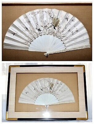 c'19th Qing Dynasty Chinese Canton Export Embroidered Silk Fan In Shadow Box