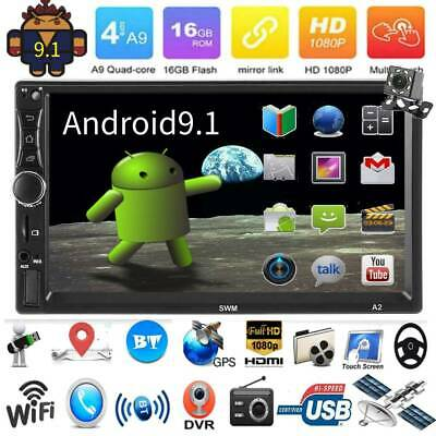 4Core 2DIN Android 9.1 7in Car Stereo MP5 Player GPS BT USB WiFi FM Radio+Camera