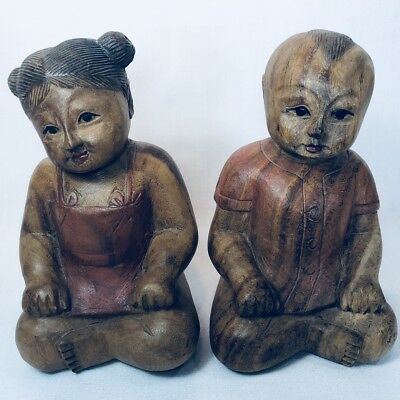 Vintage Carved Wooden Statues Boy Girl Asian Influenced Figures Pair