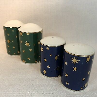 2 Sets Sakura Galaxy Green (2) Blue (2) Salt Pepper Shakers Stars Holiday Xmas
