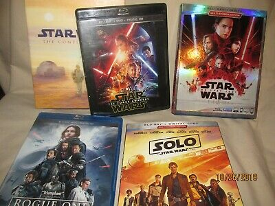 Star Wars: The Complete Saga Force Awakens Last Jedi Solo Rogue Blu-ray PreOwned