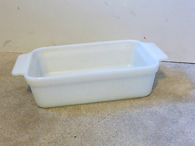 Vintage Fire King Glass Loaf Pan White Milk Glass 1950s-60s Small EUC