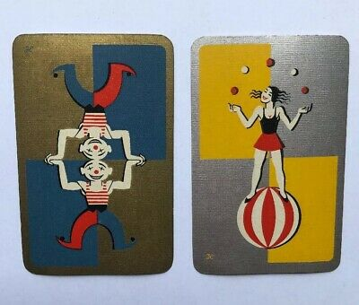 Vintage Art Deco Circus Clown Acrobat Swap Playing Card Pair, 1950s Or 60s, Worn