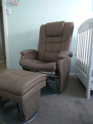 Valco Baby Eurobell Glider Feeding Chair and Ottoman Brown