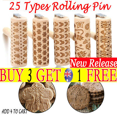 Christmas Wooden Rolling Pin Xmas Embossing Baking Cookies Cake Dough Roller TH