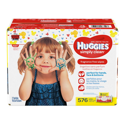 HUGGIES Simply Clean Fragrance-free Baby Wipes, Soft Pack 9-Pack, 576 Sheets May