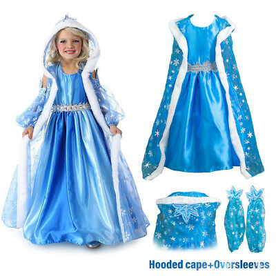 Girls Fancy Dress Up Princess Elsa Costume Outfit Party Cosplay Cape Xmas Gift