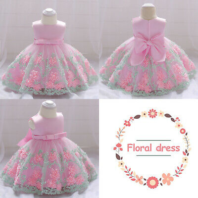 Baby Girls Floral Lace Dress Party Wedding Bridesmaid Bowknot Sleeveless Outfit