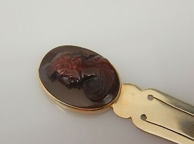 Antique Solid Gold  Bookmark Hardstone  Cameo Head French