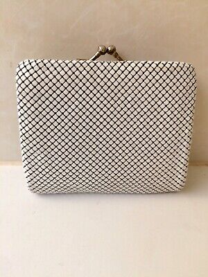 Vintage White And Gold Glomesh Tri Fold Wallet & Coin Purse - Credit Card Slots
