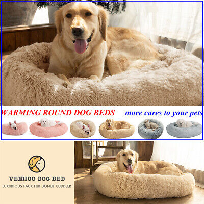 VEEHOO Warm Dog Cat Bed Calming Soft Faux Fur Pet Nest Round Comfy Sleeping Bags