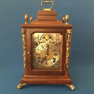 Antique TEMPUS FUGIT Wind Up Mantel Clock with Moon Dial & key