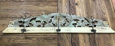 Vintage Carved Ornate Wooden Coat Rack Wall Mount Hanging Rack Storage