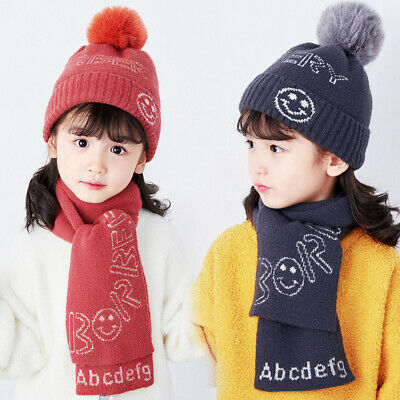 2pcs Hat Scarf Kids Pompom Knitting Caps Winter Warm Knitted Beanies Hat Ski Cap