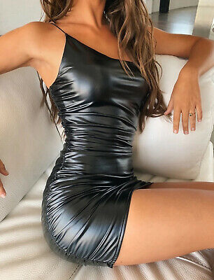 Women's Sexy Solid Color PU Leather Strap Bodycon Pleated Mini Dress Clubwear