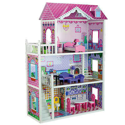 Deluxe Large Wooden Toy Dolls House 18 Piece Matching Furniture Play 3 Floor Set