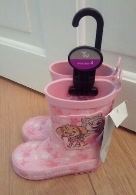 New Toddler Girls Pink Paw Patrol Wellington Boots Size 4 Infant