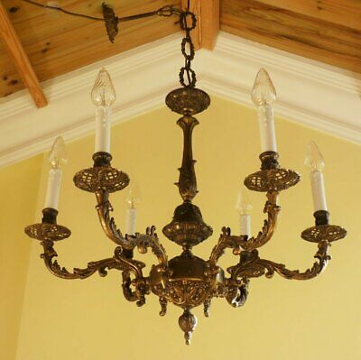 Antique Vintage Brass French Rococo Baroque Chandelier Ceiling light