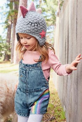 BNWT NEXT Girls Rainbow Denim Dungarees & Pink Top Set Outfit 4-5 Years