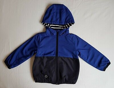 BNWT NEXT Boys Blue Colourblock Reversible Stripe Jacket Coat 2-3 Years