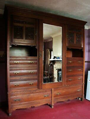 Stunning Huge Carved Victorian Maple And Co Oak Wardrobe/Compactum/Armoire