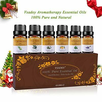 Aromatherapy Essential Oils Set 100 Pure Organic 6 X 10ml Diffusers Oil Gift Kit