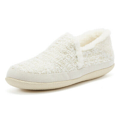 TOMS India Womens White / Metallic Boucle Slippers Ladies Casual Home Warm Shoes