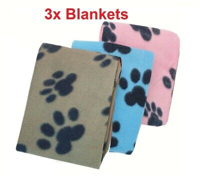 3x Small Soft Fleece Blanket Paw Print Dog Puppy Cat Pet Car Bed Size 73 X 70 Cm