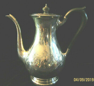 "Antique Birks Sterling Silver (763.7 Grams) Teapot Ornate Engraving 9.5"" Tall"