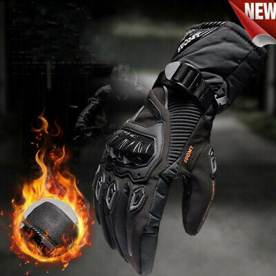 Thermal Waterproof Carbon Knuckle Winter Motorbike Motorcycle Leather Gloves Uk