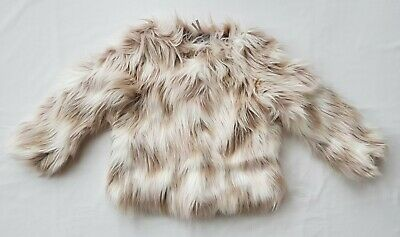 BNWT NEXT Girls Neutral Cream Faux Fur Fluffy Winter Coat Jacket 6-7 Years