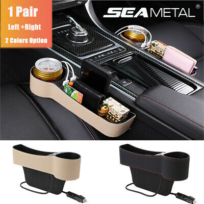 1 Pair Dual USB Car Seat Gap Storage Box Crevice Organizer PU Leather Cup Holder
