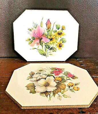 Set of 2 Vintage Mid-Century Floral Pressed Wood Wall Art Plaques - Very Pretty