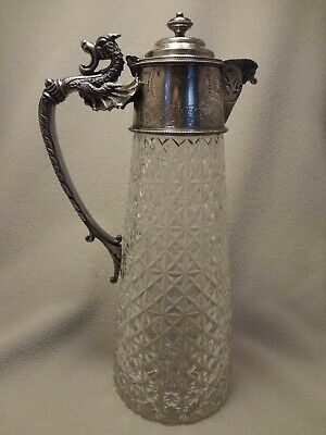 Antique Claret / Wine Carafe Silver Plate Cut Glass William Hutton Sheffield