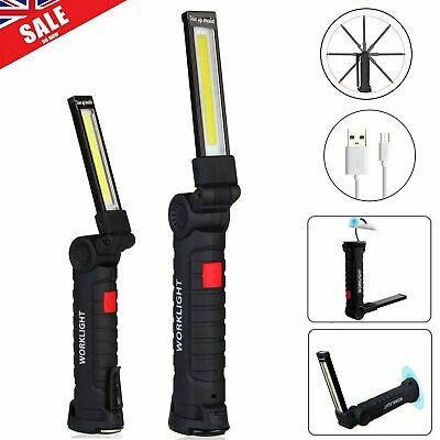 LED COB Rechargeable Magnetic Torch Flexible Inspection Lamp Cordless Work Light
