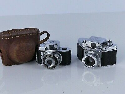 2X 16Mm Subminiature Hit Cameras, Konica Snappy And Mycro As-Is Display
