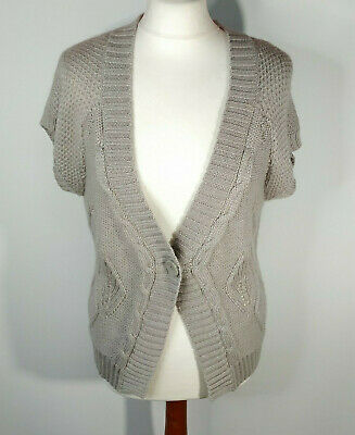 Fat Face Dove Grey Cardigan Short Sleeve Cable Knit Wool Alpaca Chunky Size 16