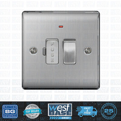 BG NEXUS NBS52 Brushed Steel Satin Chrome Switched Fused Spur with Neon