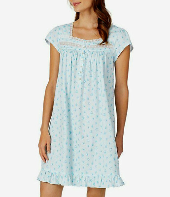 Eileen West Cap Sleeve Seashell Print 100% Cotton Knit Short Nightgown Gown L