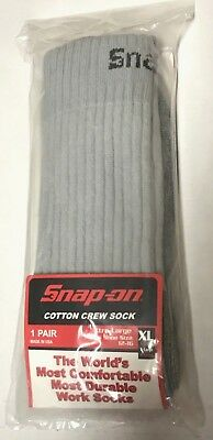 6 Pairs Men's GRAY Snap On Crew Socks XL ~ FREE Shipping ~ MADE IN USA     New!
