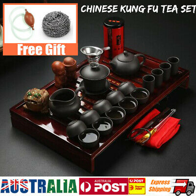 A Set Chinese Kung Fu Infuser Tea Porcelain Teapot Pot Cup Kettle Holder Tray