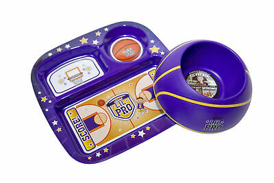 Baby Toddler Plate, Dish & Bowl Set,  Food Tray, Lil Pro Basketball, Purple