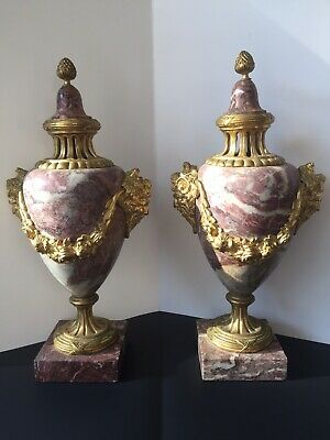 """Pair French Pink 15"""" Antique 19th C. BRONZE Mounted & Marble Capped URNS"""