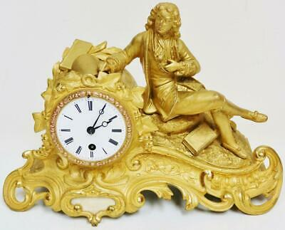 Antique French 8 Day Bell Striking Gilt Metal Philosopher Figurine Mantel Clock