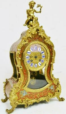 Antique French 8 Day Bell Striking Red Shell,Bronze & Inlaid Boulle Mantel Clock
