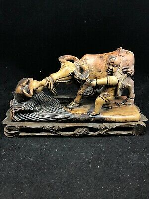 Antique Chinese Sculpture Soap Stone Buffalo Man With Calf Carved Wooden Stand