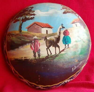 Antique Peruvian Hand Painted Gourd Bowl Art Peru Signed