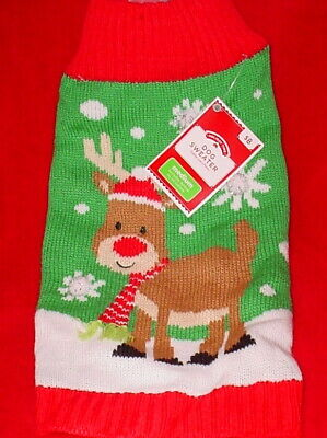 Holiday Time Christmas Dog Sweater * Red/White/Green *With Reindeer * New *Cute*