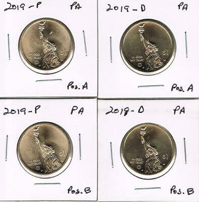 Pos A/&B  Delaware 4 Coins On Hand #2 2019 American Innovation Dollar P D